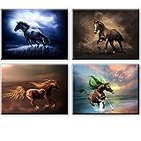 Artisweet Canvas Prints Picture Sensations Framed Waterproof 4-panel Runniing Horses Canvas Art