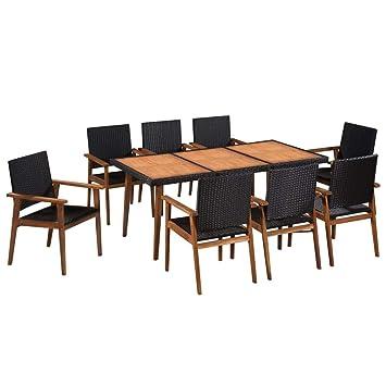 Festnight Salon de Jardin d\'extérieur 1 Table et 8 chaises en Bois d ...