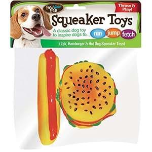Bow Wow Hamburger and Hotdog Vinyl Squeaker Toys