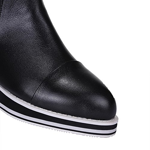 Heighten Black Boots Round Toe Heels Women's Closed Sole Toe with Kitten AmoonyFashion and Slipping Inside 5q6xw7100