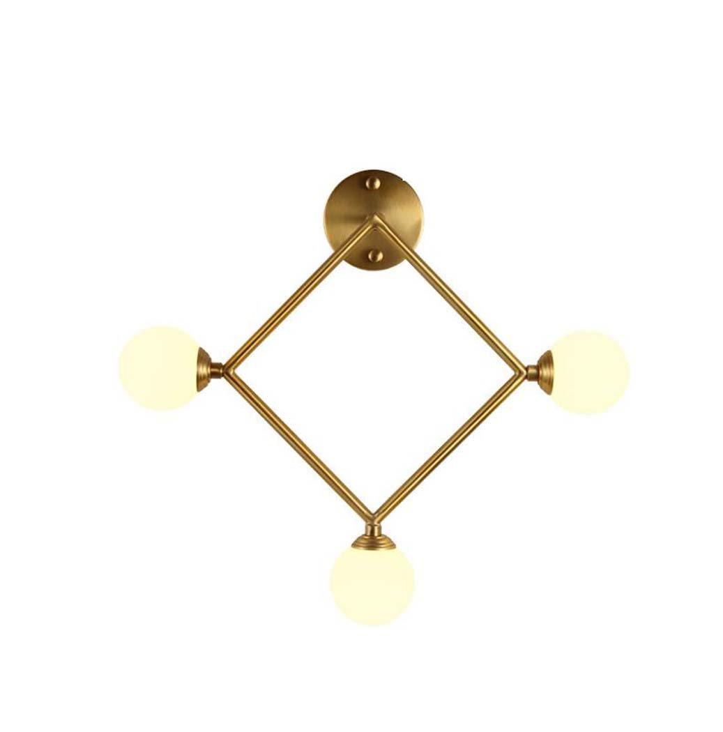 オール銅の壁面照明、北欧のポストモダンな幾何学的な3つのヘッドゴールデンウォールランプ、クリエイティブなパーソナリティデザイナーリビングルームの背景壁ランプ、ミルクホワイトガラスのランプシェード (色 : A) B07DM1MGR1 20631 A A
