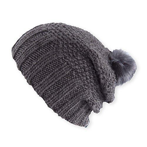 Pistil Women's Juliette Knit Slouch Beanie Hat, Charcoal