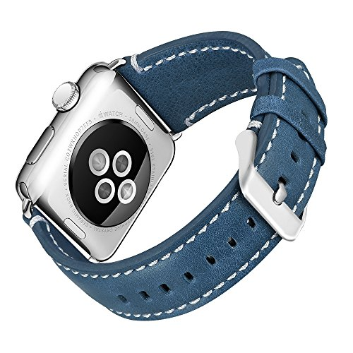 iHillon Bands Compatible Apple Watch 38mm/40mm 42mm/44mm, Genuine Leather Bands Soft Wristbands with Metal Clasp Compatible Apple Watch Series 4, Series 3, Series 2&1, Edition Sports, Women Men