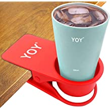 YOY Drinking Home Office Table Desk Side Huge Clip Water Drink Beverage Soda Coffee Mug Holder Cup Saucer Design, Red