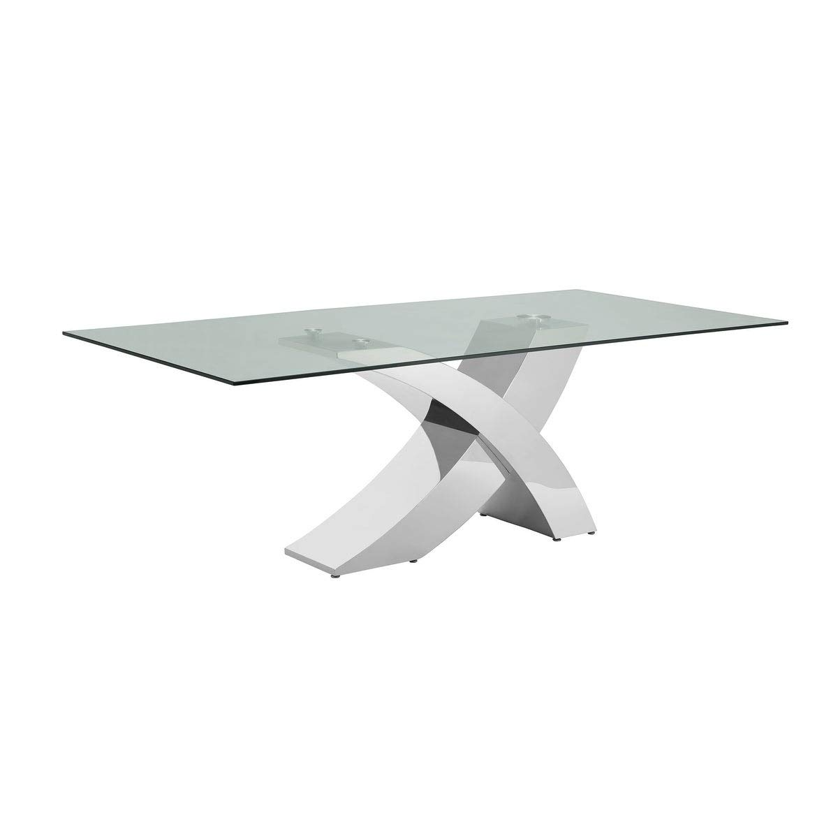 Geneva Collection Steel/Glass Dining Table Modern Contemporary Rectangle Metal Steel Stainless Finish