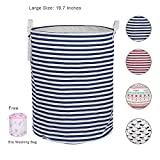 Laundry Hamper for Dorm, Foldable 19.7' Large-Size Dirty Clothes Baskets With Free Underwear Washing Bag For Bedroom,Bathroom,Kitchen (Blue)