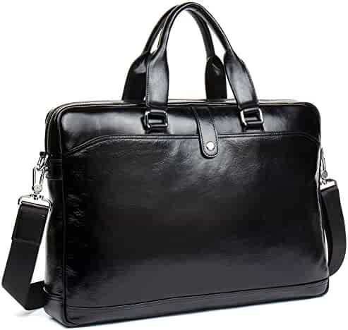 MANTOBRUCE Leather Briefcase for Men Women Travel Work Messenger Bags 16