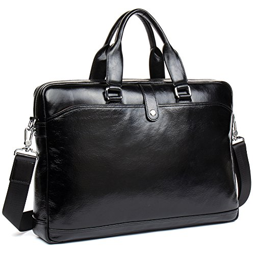 MANTOBRUCE Leather Briefcase for Men Women Travel Work Messenger Bags 16'' Laptop Shoulder Handbag by MANTOBRUCE