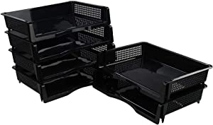 Minekkyes Stackable Desk File Trays, Plastic Office Desk Tray, 6 Packs Black Letter Tray