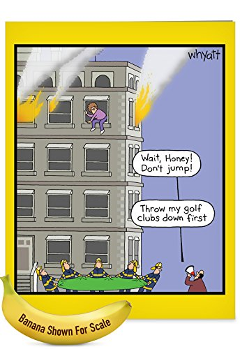 Large Hilarious Greeting Card - 'Golf Clubs Fire' with Envelope (Giant Size: 8.5