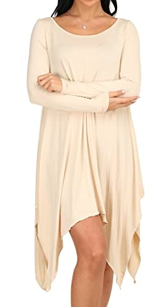 21c8b4cfff55 OFEEFAN Women s Asymmetrical Loose Long Sleeve Round Neck Tunic ...