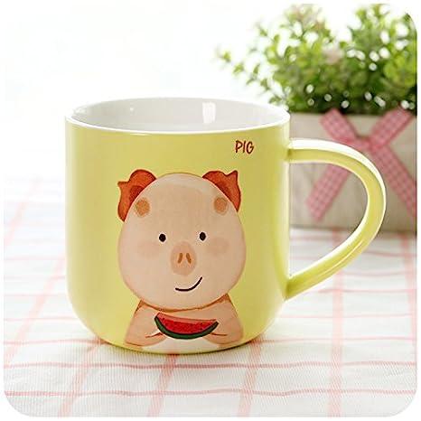 BBujsgH Cartoon de taza de cerámica parejas taza oficina desayuno café con leche taza de avena , amarillo pequeño cerdo -410ml: Amazon.es: Hogar