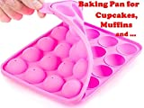 Muffins Baking Cupcakes Cookware Mold- BPA Free, Food Grade, Stain / Odor Resistant, by BA-PRO Best for Brownies, Pies, Lollipops, Candies, Jelly and Chocolate,20 Balls Silicone Tray, Not Sticky, Pink