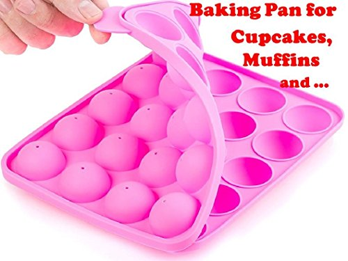 Brownie Pops (Muffins Baking Cupcakes Cookware Mold- BPA Free, Food Grade, Stain / Odor Resistant, by BA-PRO Best for Brownies, Pies, Lollipops, Candies, Jelly and Chocolate,20 Balls Silicone Tray, Not Sticky, Pink)