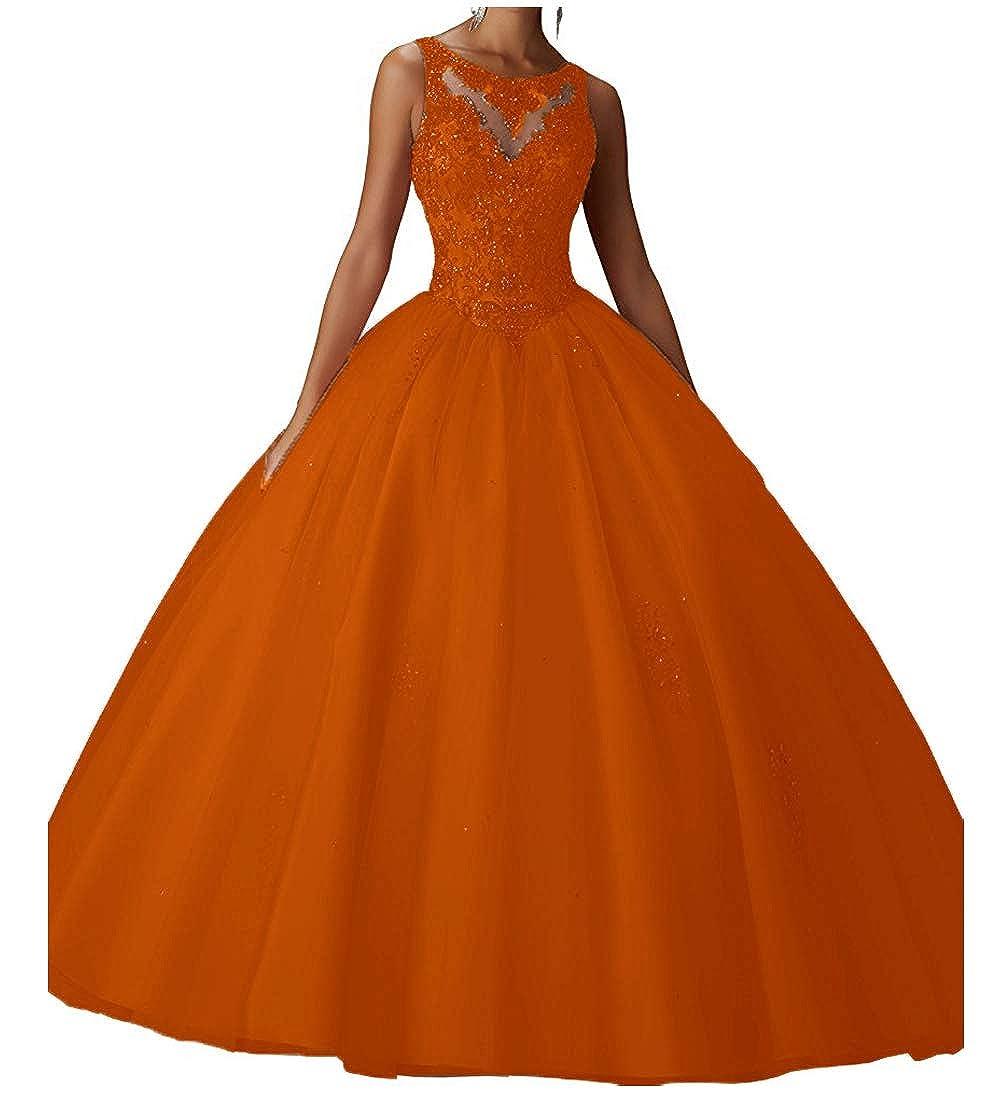 orange XSWPL Girls Sweet 16 Birthday Party Dress Ball Gown Beads Prom Quinceanera Dresses