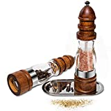 Salt & Pepper Grinder Set Wood Salt Pepper Mill Ceramic Adjustable Coarseness Cooking Gadgets 2 Pcs