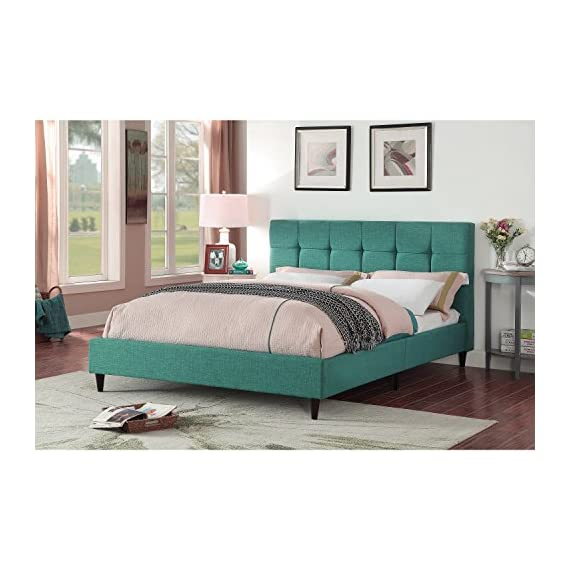"""AC Pacific Modern Platform Bedframe With Wooden Slats, Queen Size, With Square Stitching Tufted Finish, Turquoise - Perfect Dimensions: This Platform Bed Frame Has Been Made With Impeccable Dimensions of 66.1"""" x 89"""" x 40.9"""" and a Total Weight of 78 lbs., to Provide You With a Bedframe and Wooden Slats That Will Be Easy to Place and Use in Your Home While Providing You With a Queen Size Frame Designed For Optimum Comfort and Accommodating Placement in Your Home Genuine Construction: Crafted With Durable Hardwood and Fourteen Wooden Slats, This Tufted Upholstered Bedframe Has Been Created With Quality to Provide You With Something Durable and Certain to Be Long Lasting For Many Years to Come One of a Kind Appeal: This Upholstered Bed Frame Has a Stitched Fabric Headboard and Footboard to Provide You With Something Comfortable and Fashionable. The Wooden Slats Provide a Great Source of Sturdy and Durable Placement For Your Mattress - bedroom-furniture, bedroom, bed-frames - 51tSbAa0M4L. SS570  -"""