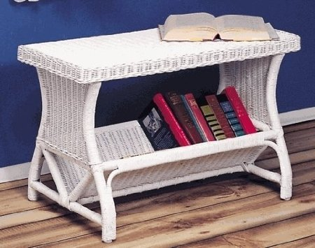 New White Wicker Window Bookcase (Antique)