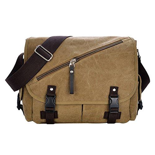 UNYU Canvas Shoulder Messenger Bag - Bolso al hombro para hombre caqui