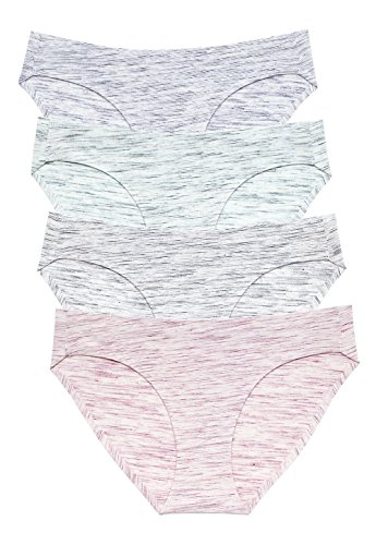 Wealurre Viscose Cotton Bikini Women's Breathable Panties Seamless Comfort Underwear(3128S,Stripe Green)