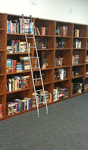 massiv Edelstahl Bibliotheksleiter Stufenleiter Bücher Regal Schrank Leiter 7 Sprossen (Rollen-Leiter)