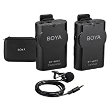 BOYA Wireless Mic Microphone System Support Real-time Monitor with Hard Case for Canon Nikon Sony DSLR Camera Camcorder for iPhone Samsung Huawei Smartphone PC Tablet Sound Audio Recording Interview