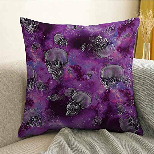FreeKite Skull Silky Pillowcase Horror Movie Thirller Themed Flying Skull Heads Halloween in Outer Space Image Super Soft and Luxurious Pillowcase W18 x L18 Inch Black and Purple