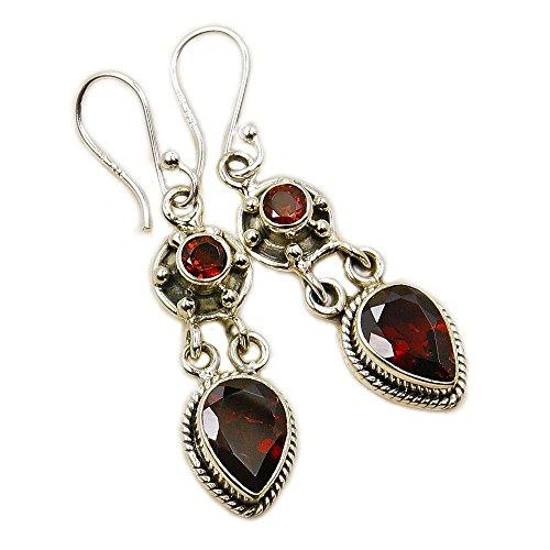 Passionate Love' Sterling Silver Garnet Dangle Earrings Handcrafted Garnet Love Earrings