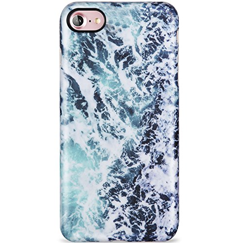 Silicone Wave (LUMARKE iPhone 7 Case,iPhone 8 Case,Cute Blue Sea Waves for Girls Women Slim Fit Glossy TPU Clear Bumper Flexible Soft Rubber Silicone Best Protective Thin Phone Case Cover for iPhone 7/iPhone 8)