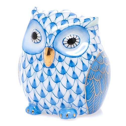 Herend Owlet Porcelain Figurine Blue Fishnet