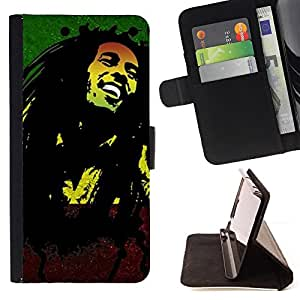 For Apple Iphone 5 / 5S Jamaica Reggae Music Rasta Weed Beautiful Print Wallet Leather Case Cover With Credit Card Slots And Stand Function