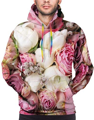 ピンクのバラの花柄プルオーバーフーディー、男性用フロントポケット付きユニセックス生き抜く長袖軽量スウェットシャツ