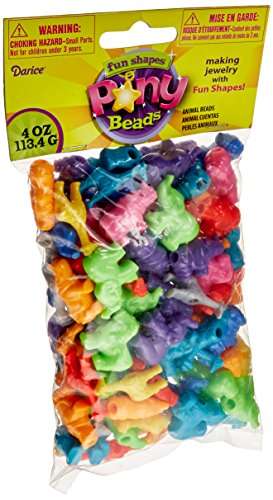 Darice Plastic Novelty Zoo Animal Shaped Beads, 1/4-Pound, Multi Color -