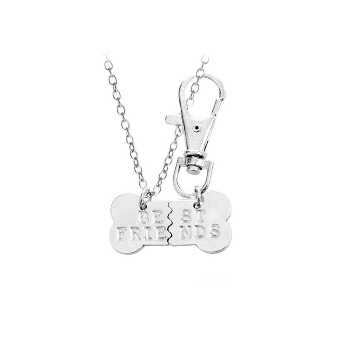 UNKE 2 Pcs Set Dog Bone Shaped Best Friends Charm Pendant Necklace Keychain Gift for Friends Dog Lover,Silver