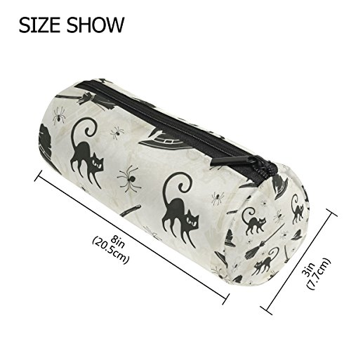 GIOVANIOR Halloween Cats Brooms And Witch Hats Pencil Case Pen Zipper Bag Coin Organizer Makeup Costmetic Pouch for Women Teen Girls Boys (Halloween Makeup For Kids Witch)
