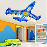 Children Bedroom Lights Protection Eye LED Creativeremote Control Aircraft Lights Ceiling Lamps ( Color : Sixhead )