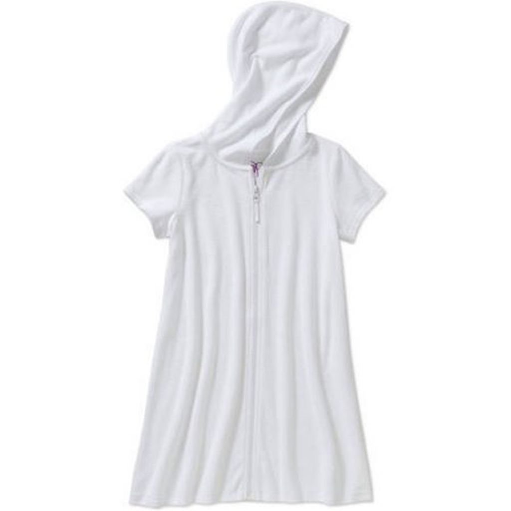Op Girls Terry Hooded Swimsuit Cover Up (Extra Small 4-5, Arctic White)