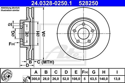 Ate 24.0328-0250.1 Rotores de Discos de Frenos Set de 2