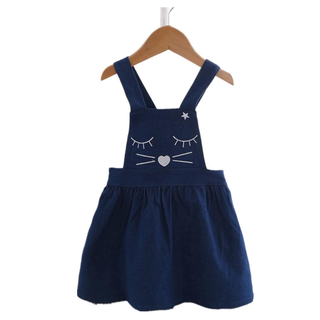 ad9f0bbcbf9 Amazon.com  Iuhan Cute Cat Face Toddler Skirt Kids Baby Girl Denim Print  Princess Overalls Dress  Clothing