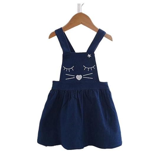 3db91ca1818 Iuhan Cute Cat Face Toddler Skirt Kids Baby Girl Denim Print Princess Overalls  Dress (2