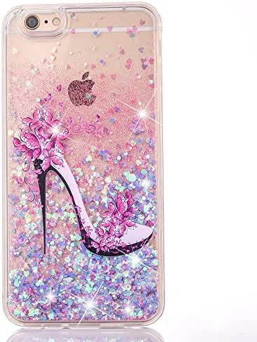 UCLL iPhone 7 Plus Glitter Case, iPhone 7 Plus Liquid Case,High Heeled Moving Bling Glitter Floating Cover for iPhone 7 Plus with a Screen Protector (Blue & Pink)