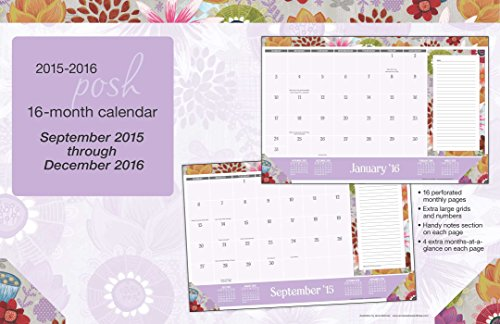 Posh: Painter's Floral 2015-2016 16-Month Desk Pad Calendar: September 2015 through December 2016