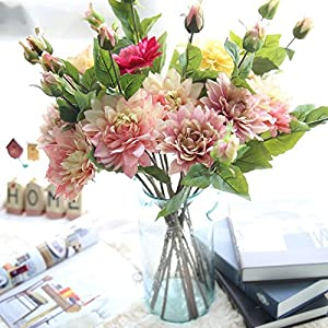 LySanSan - 5PCS/Lot Silk Flower Wedding Bouquet Roses Dahlias Artificial Flowers Fall Vivid Leaf Wedding Flower Bridal Bouquets Home 107