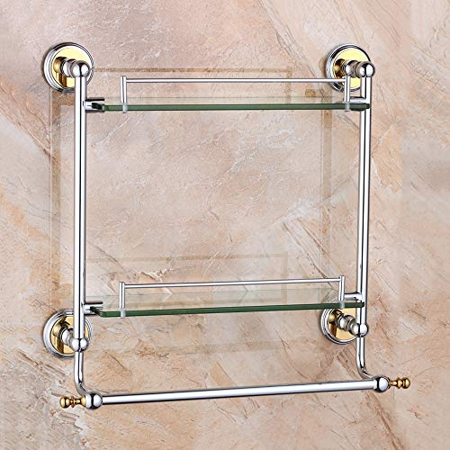 Modenny 2-Tier European Bathroom Wall Glass Shelf with Towel Single Pole Shower Shelves Rack Wall-Mounted Toilet Corner Hardware Storage Accessories ()