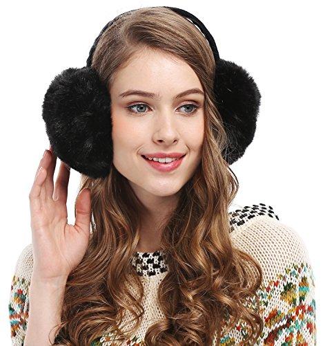 Womens Headband Winter Faux Fur Outdoor EarMuffs Warmers Adjustable Earwarmer