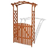 Festnight Garden Arch with Gate Solid Wood 47.2'' x 23.6'' x 80.7''