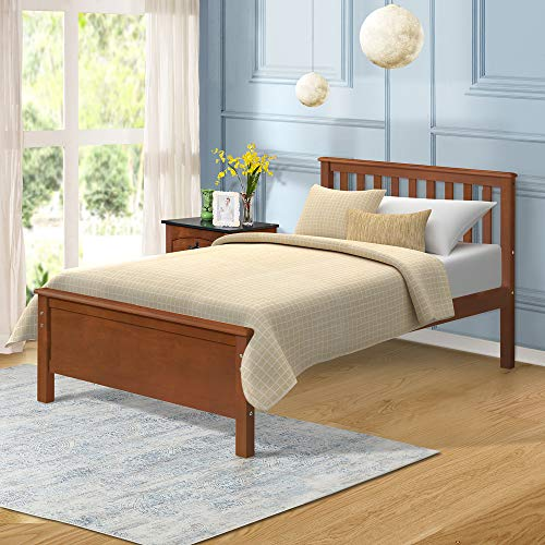 Harper&Bright Designs Wood Platform Bed with Headboard/Footboard/Wood Slat Support/No Box Spring Needed Twin (Walnut.)