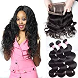 Unprocessed Virgin Hair 360 Lace Frontal with 3 Bundles Pre plucked Brazilian Body Wave Human Hair Weave Extensions 12 14 16 and 10inch Natural Color Review