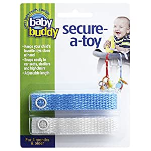 Baby Buddy Secure-A-Toy - Straps Toys, Teether, or Pacifiers to Strollers, Highchairs, Car Seats— Safety Leash With Adjustable Length to Keep Toys Sanitary & Clean, Blue/White 2 Count