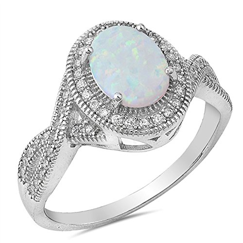 Clear CZ White Simulated Opal Vintage Oval Ring .925 Sterling Silver Band Size 5